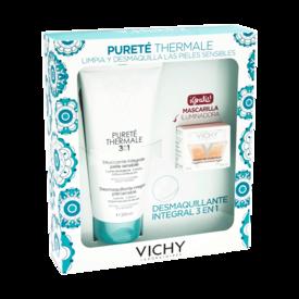 Vichy purete termal 3 en 1 Desmaquillante Para Piel Sensible De 200Ml+Mascarilla Iluminadora De 15Ml